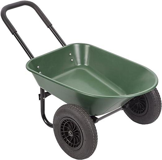 PayLessHere Carrito de jardín de 2 neumáticos Carretilla de Patio, Carrito de Wagon, Resistente, 2 Ruedas, de Polietileno, Plano, Color Verde: Amazon.es: Jardín