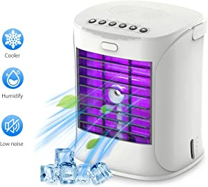 Mobile Air Conditioner, 3 in 1 Personal Desktop Cooling Fan Portable Air Cooler with Handle for Bedroom, Home, Car, Office
