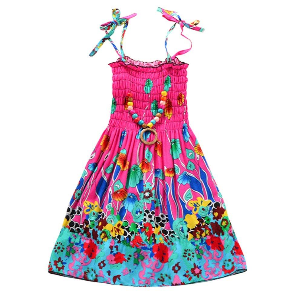 Weixinbuy Little Girls Harness Sleeveless Flower Bohemia Beach Dress + Necklace 2PCS Set