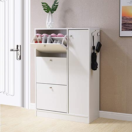 Homjoy Modern Design Shoe Cabinet Wooden Shoe Rack Closet Hallway