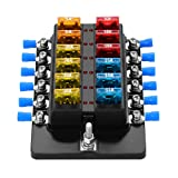 Blade Fuse Block Box Holder 12 Way With LED