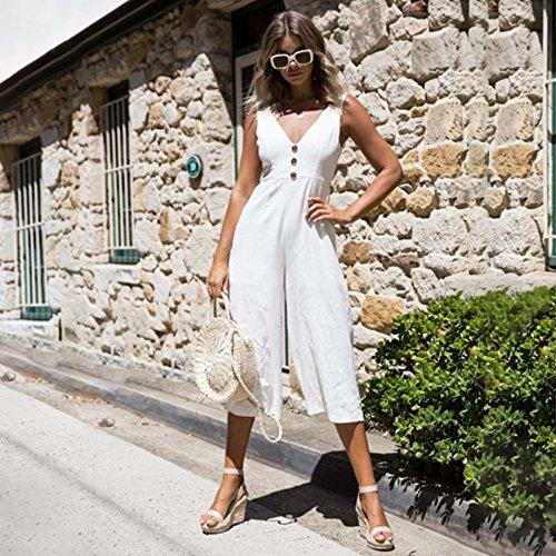 y sin con sin en V de Alaix ancha Jumpsuit blanca espalda espalda cuello mujer mangas mangas mangas para con sin OxFqf0wn