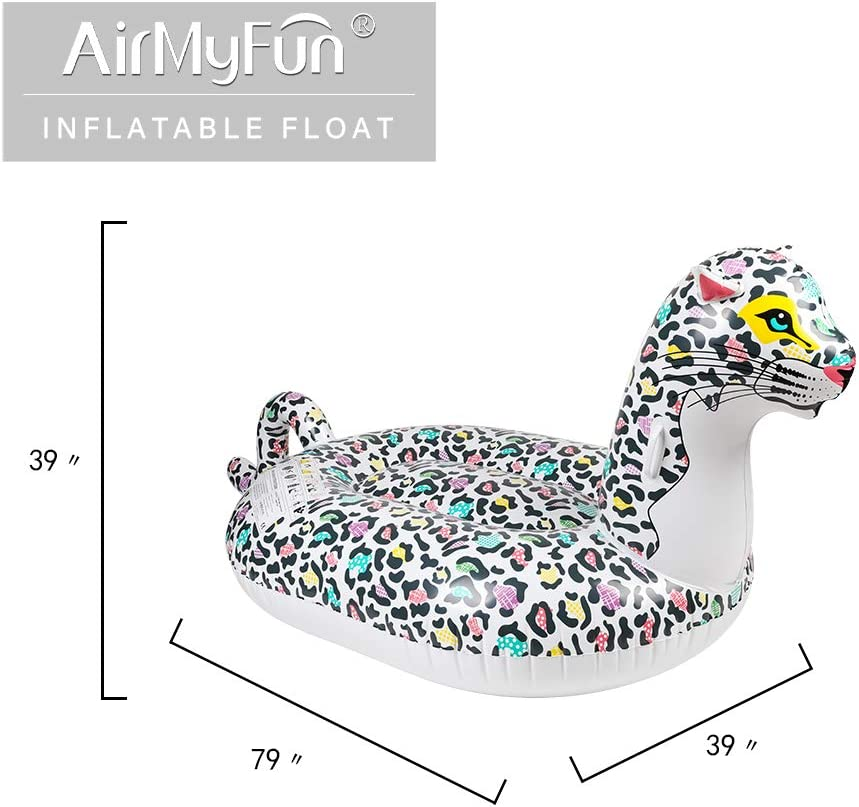 AirMyFun Inflatable Leopard Pool Float Beach Ride on Tubes Blow Up Summer Pool Floaties with Large Fast Valves Lounge Raft Decorations Toys Kids Adults