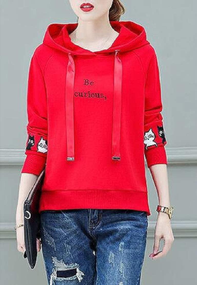 Wofupowga Womens Embroidery Vogue Top Hoodie Drawstring Sweatshirts