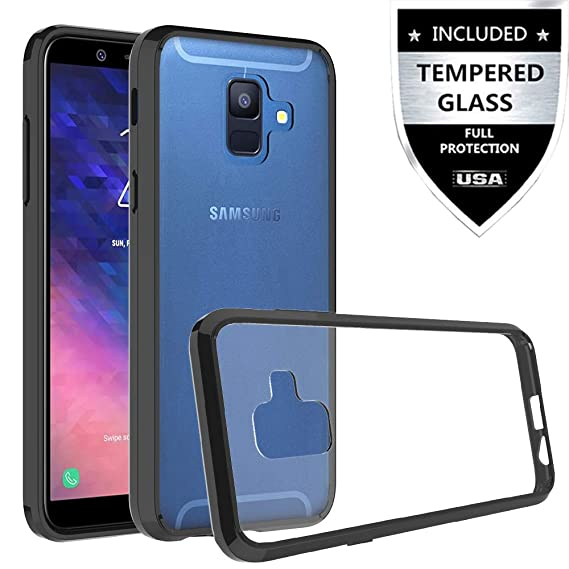 the best attitude eb529 79d29 Samsung Galaxy A6 Case with Tempered Glass Screen Protector,IDEA LINE for  Galaxy A6(2018) Premium Ultra Edge Sturdy Shockproof Bumper Transparent PC  ...