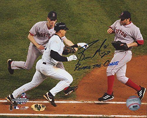 Alex Rodriguez 8x10 Photograph - Bronson Arroyo #61 Signed Boston Red Sox 8x10 Photo of Infamous 2004 ALCS Play Tagging out Alex Rodriguez Inscribed