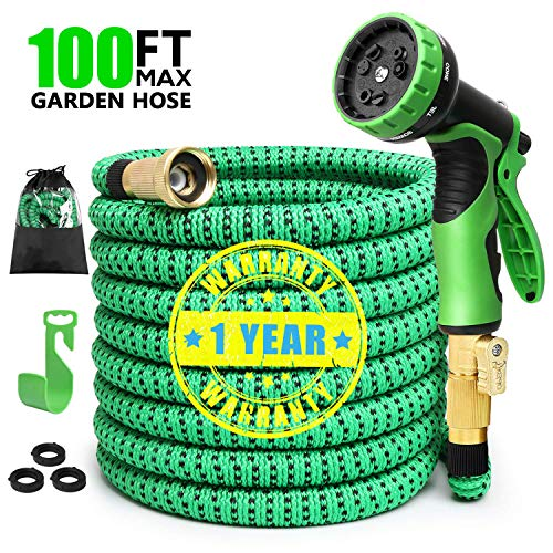 Expandable Garden Hose, 100 FT Lightweight Water Hose, 9 Functions Sprayer with Double Latex Core, Green Black Expandable Hose with 3/4″ Solid Brass Fittings, Extra Strength Fabric