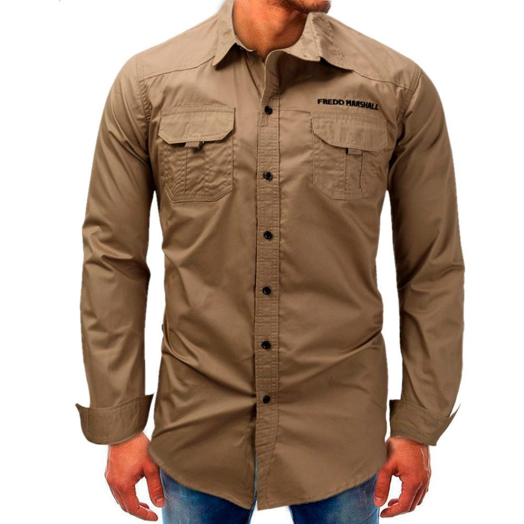 Clearance Sale! Wintialy Men Long-Sleeve Beefy Button Basic Solid Blouse Tee Shirt Top