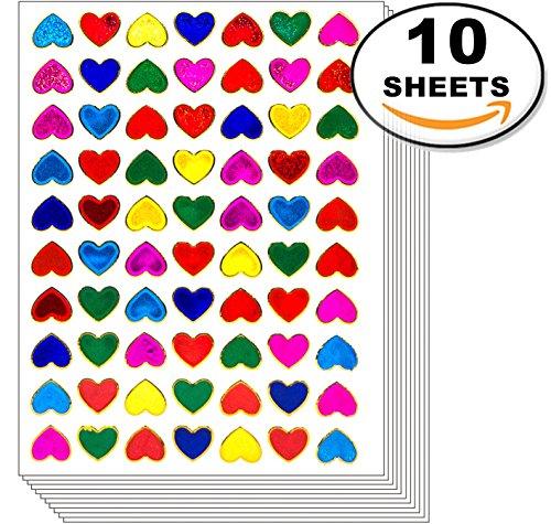 Jazzstick 700 Small Heart Stickers Glitter Red Pink Yellow G