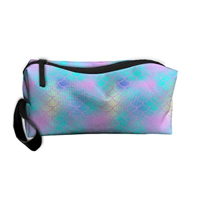 Haddfyeertty Blue Fish Skin With Scale Pattern Fashion Toiletry Bag Travel Receiving Bag Wallets Purse Zipper Kit Multi-function Bag