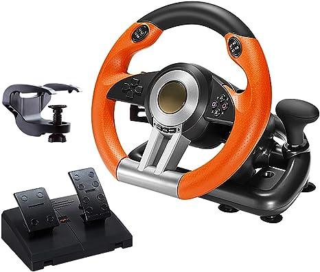 HALASHAO Volante PS4 con Pedales y Circuito, Carreras de Ruedas para Xbox One / PS4 / PC/Switch / PS3 Volante vibración, PS4 Volante,Naranja: Amazon.es: Deportes y aire libre