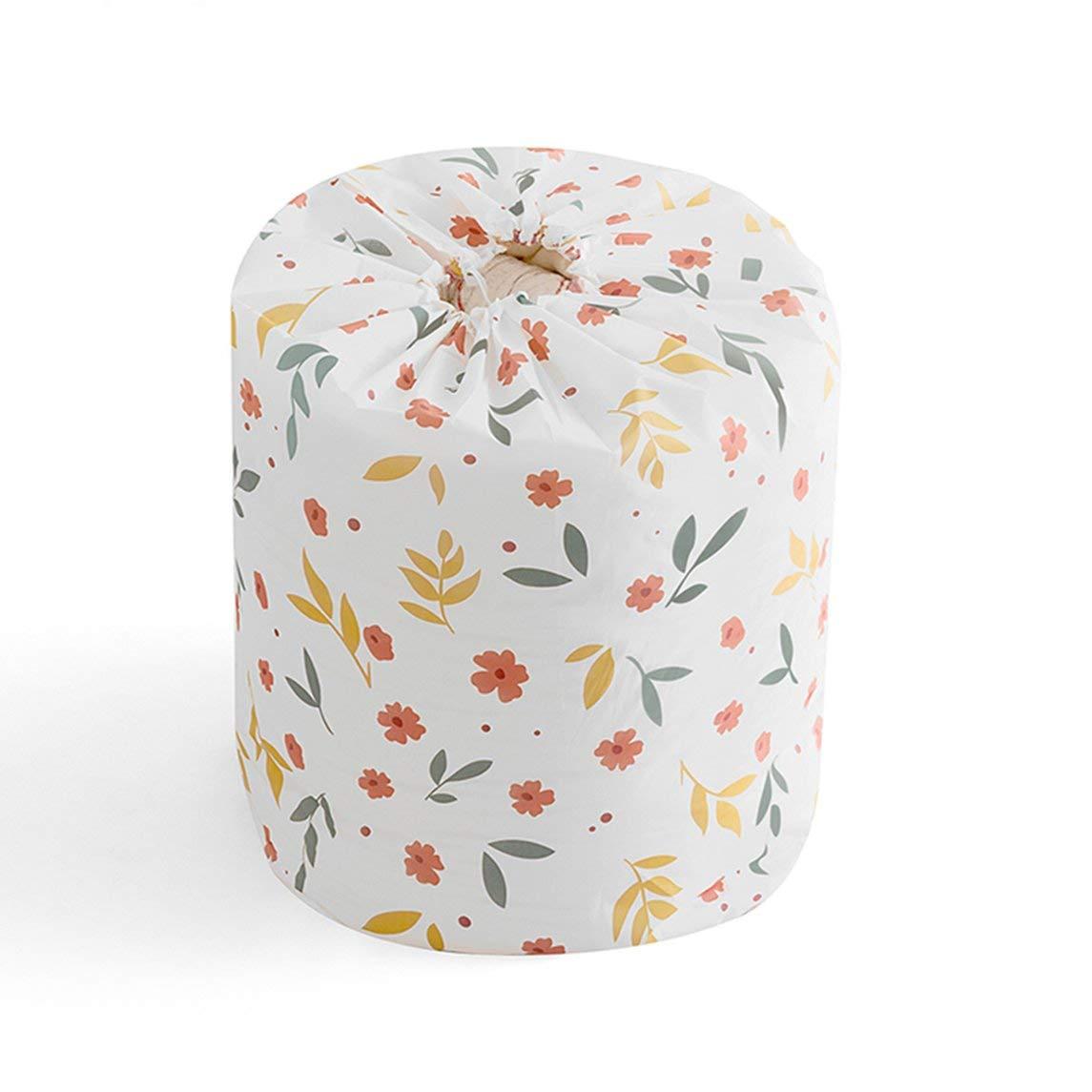 Footprintse INNERNEED Floral/Geometrie Printing Square/Barrel Aufbewahrungstasche für Bettwäsche Bettdecken Quilt Kissen Bekleidung Waschbar Organizer-Farbe: weiß
