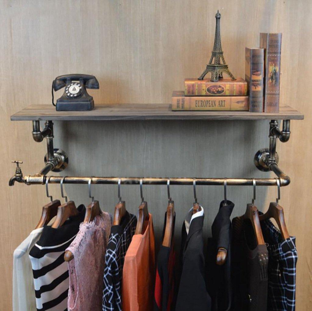 コートラック衣類ストア衣類木製ディスプレイスタンドレトロアイロンウォーターパイプ壁面取り付け式側面取り付け型ラック棚棚 (色 : B, サイズ さいず : 80cm) 80cm B B07JVS6PHV