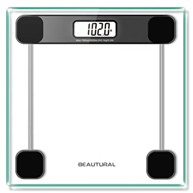 Beautural Precision Digital Body Weight Scale Bathroom Scale with Lighted Display, Step-On Technology, 396 Pounds