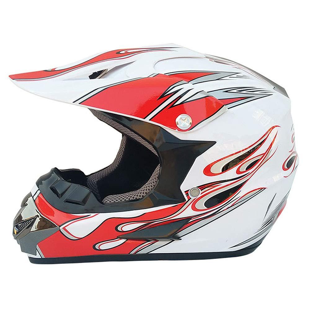 GYFY Adulto MX Casco Fuoristrada Moto ATV distribuzione Occhiali off-Road Guanti e Maschera (Bianco/Rosso Fiamma), S