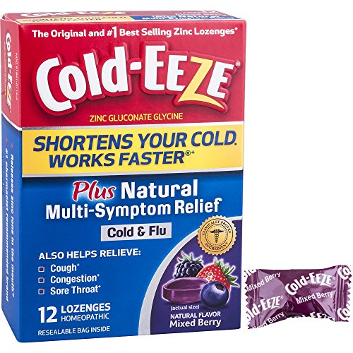 Cold-EEZE Cold Remedy Plus Multi-Symptom Relief Lozenge Mixed Berry 12 Count - The original and #1 best-selling zinc (Cold Eeze Cough Drops Box)
