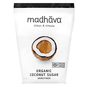 MADHAVA Organic Coconut Sugar 3 Lb. Bag (Pack of 1), Natural Sweetener, Sugar Alternative, Unrefined, Sugar for Coffee, Tea & Recipes, Vegan, Organic, Non GMO