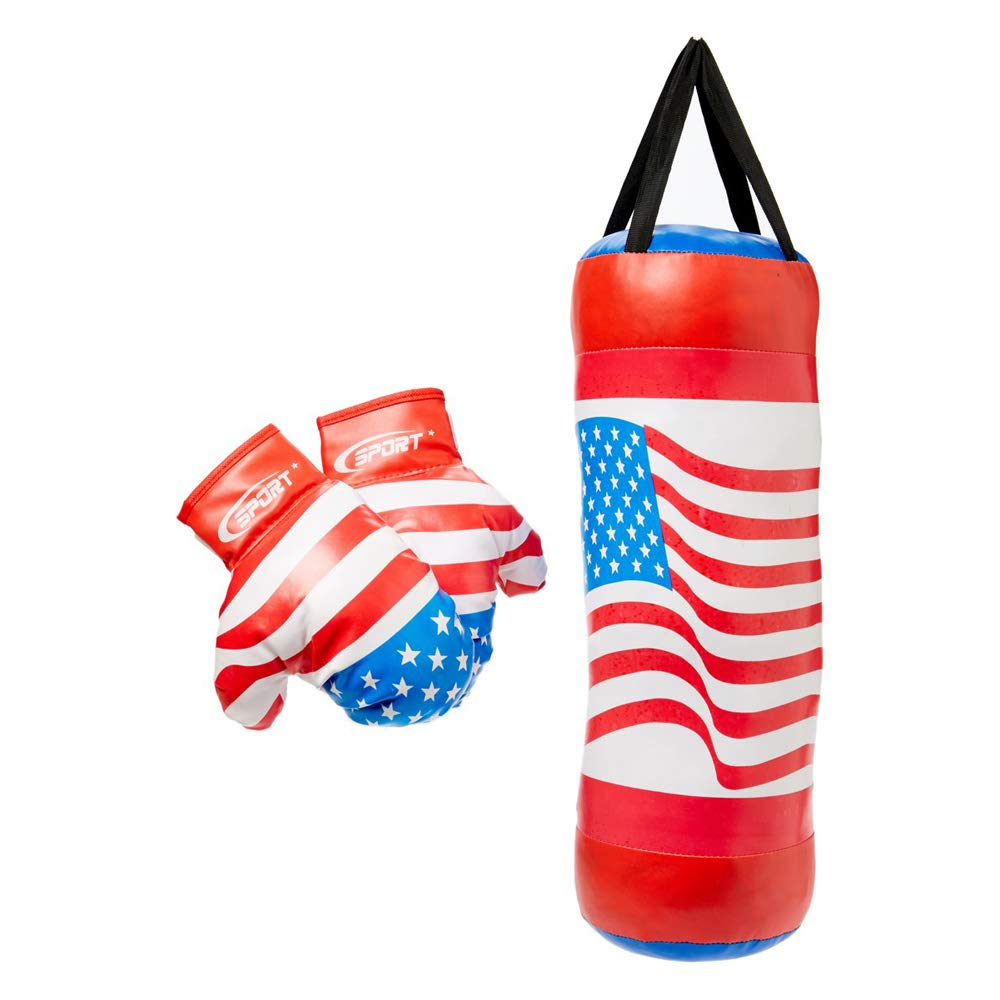Fun,Action Packed USA Boxing Children's Pretend Play Toy Boxing Play Set w/Stuffed Punching Bag,Pair of Soft Padded Boxing Gloves,Exciting Gift Idea for Kids