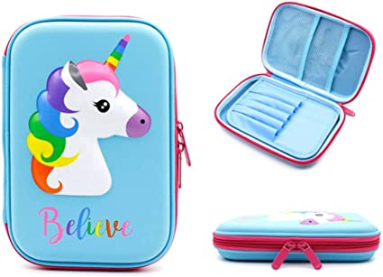 Estuche para lápices, estuche para bolígrafos de unicornio, caja de papelería, estuche para lápices de colores, estuche para niños con bolsa de cosméticos para niñas, organizador de papelería: Amazon.es: Oficina y papelería