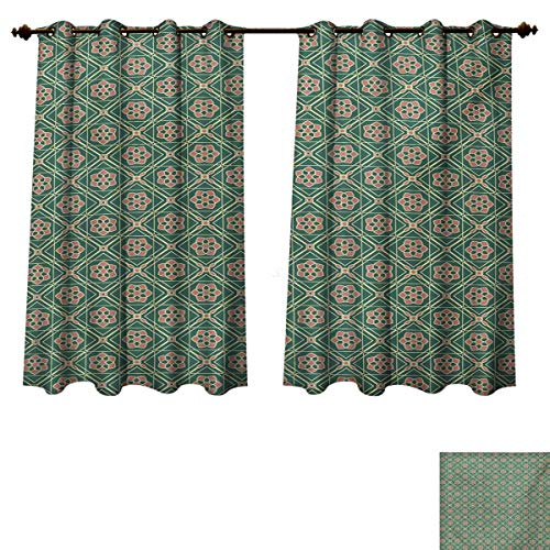 RuppertTextile Mandala Blackout Thermal Curtain Panel Spring Seasonal Mosaic Ethnic Figures Vertical Floral Far Eastern Patterned Drape for Glass Door Jade Green Pale Pink Peach W72 x L45 inch ()