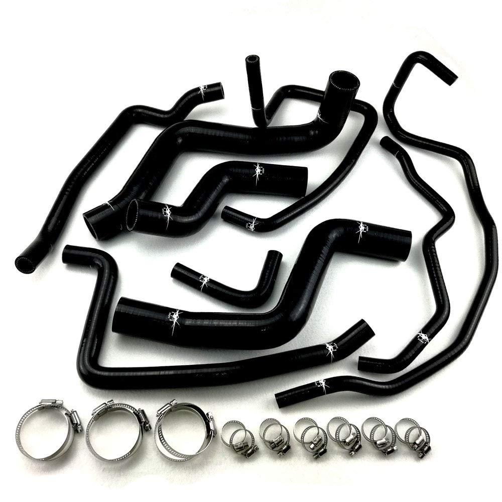 I33T Radiator Coolant /& Heater Silicone Hose Kit for Mazda Rx8 Series with Clamps Set Blue RX8 SE3P 13B MSP, Radiator Coolant + Heater - Black - With Clamps