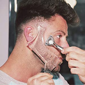 Beard Shaping & Styling Tool with inbuilt Comb for Perfect line up & Edging For Men's Jaw Cheek/Neck Line, Symmetric/Curve/Step Cut Works with Any Beard Razor Electric Trimmers or Clippers (Clear)