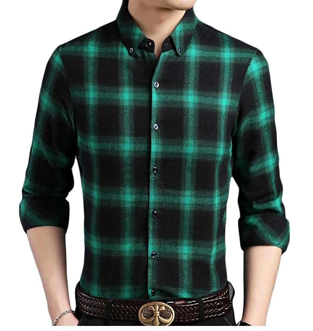 Generic Mens Classic Slim Fit Long Sleeve Plaid Checked Button Down Dress Shirts