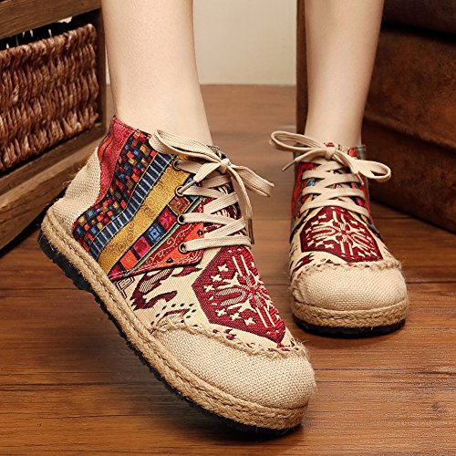 fereshte Hand-Made Chinese Style Embroidered Linen and Cotton Slip-on Women Espadrilles 534red dcF0IKsS