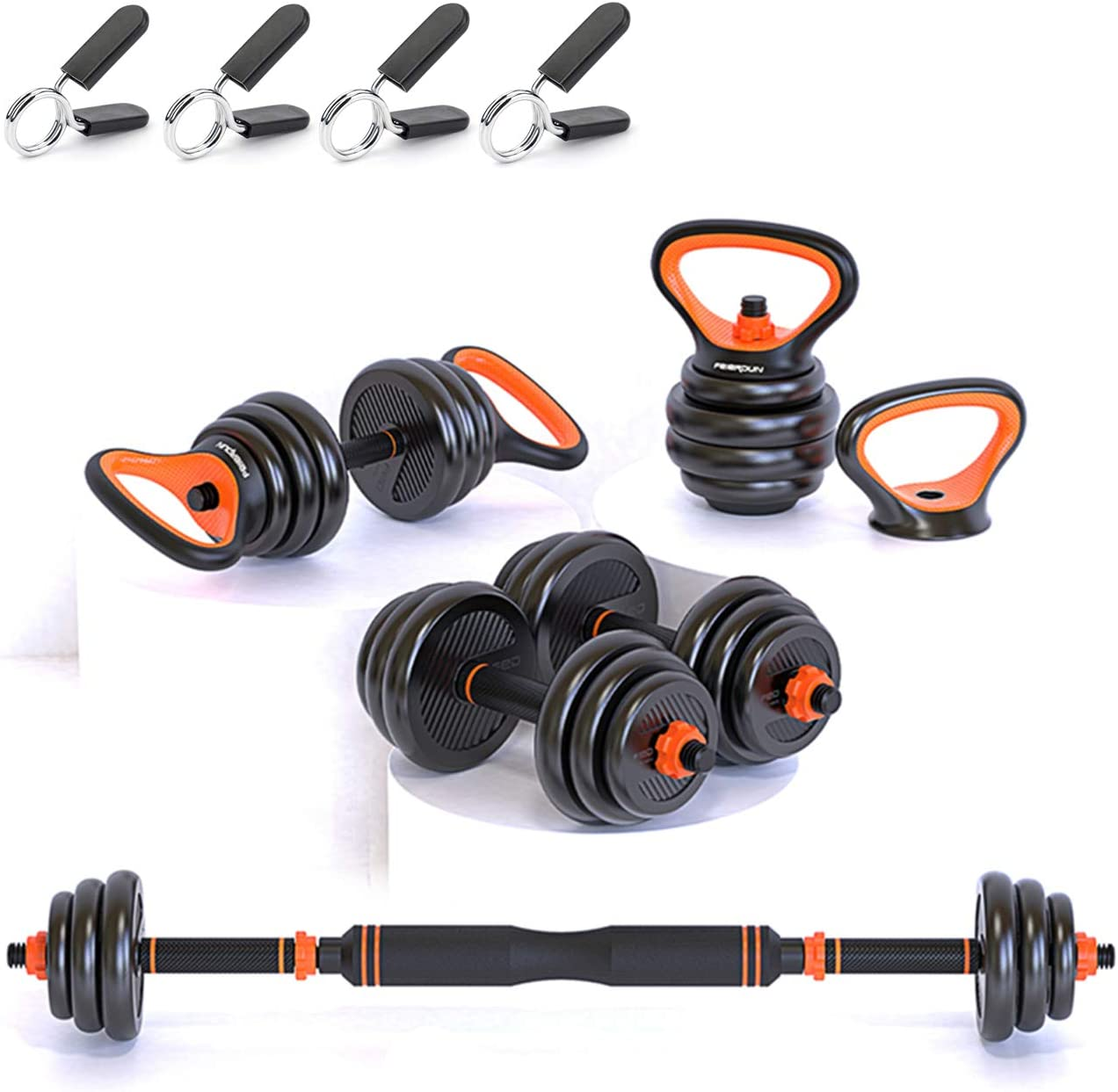 Gintonique Adjustable Dumbbells, Dumbbell Set, Free Weights Dumbbells Set of 2, Kettlebell, Barbell, Push-up Set, Home Work Out for Men and Women. Total Weight Up to 44LB, 66LB, 88LB
