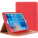 iPad Air Case - Leather Stand Folio Case Cover for Apple iPad Air Case with Multiple Viewing Angles, Document Card Pocket (Red)