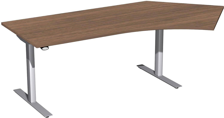 Geramöbel Elektro-Hubtisch 135° rechts höhenverstellbar, 2166x1130x680-1160, Nussbaum/Silber