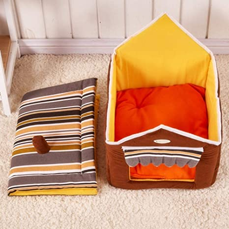 Amazon.com : Vivian Inc Dog Houses - New Dog House Removable Cover with Mat and Bed Fashion Striped Cute for Small Medium Dogs Cat Puppy (Pink, ...