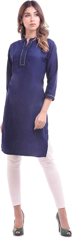 einfarbig Ramkudi Kurti-Top f/ür Damen Baumwolle