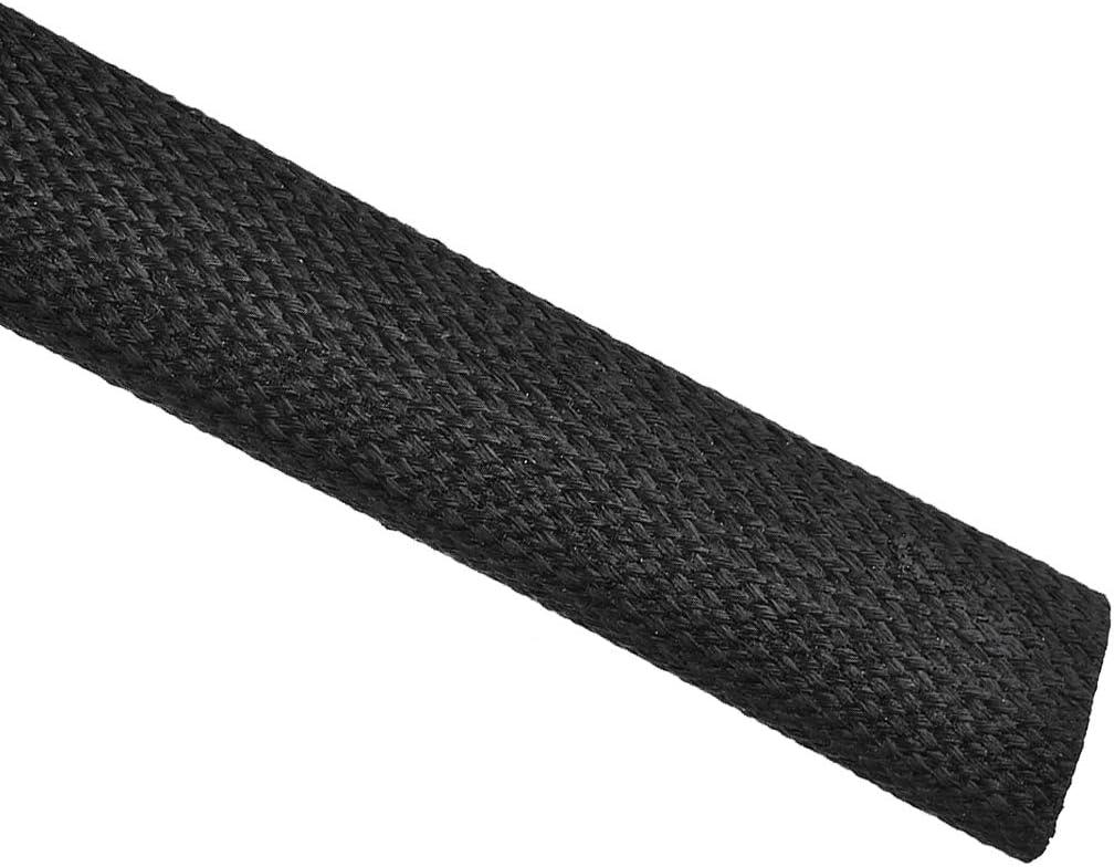 sourcing map Tresse Isolation Manchon 3.3Ft-16mm Haut TEMP Silicone Fibre Verre Manchon Noir