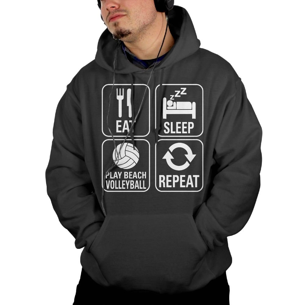 949d3b195 Men's Eat Sleep Volleyball Repeat Hooded Sweatshirt Sweatshirt Sweatshirt  Black cb09f7