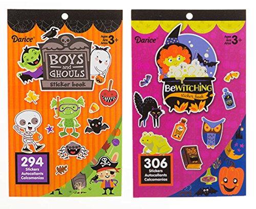 LightShine Products 2 Halloween Theme Sticker Books for Kids with a Total of 600 Assorted Stickers