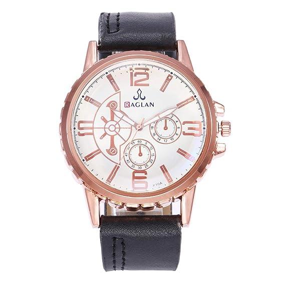 Reloj Hombre Sub-diales Grandes números Redondos analógicos números árabes  Cuarzo - Blanco Negro  Amazon.es  Relojes bd55835d39e5