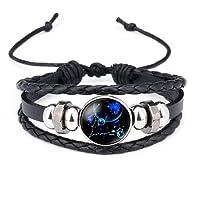Dunbasi 12 Sternzeichen Armband Glas Cabochon Horoskop Anhänger Silber Armschmuck Herren Leder Armbänder Verstellbare Kette
