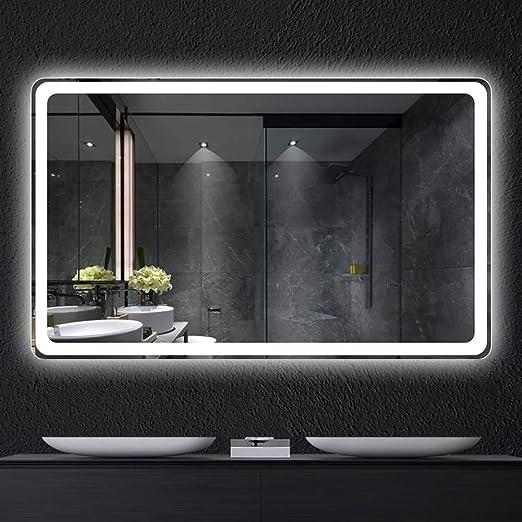 Espejo inteligente pantalla táctil led baño espejo colgante de pared baño baño luz de niebla con maquillaje nueva actualización Interruptor multifunción Bluetooth / una variedad de estilos: Amazon.es: Hogar