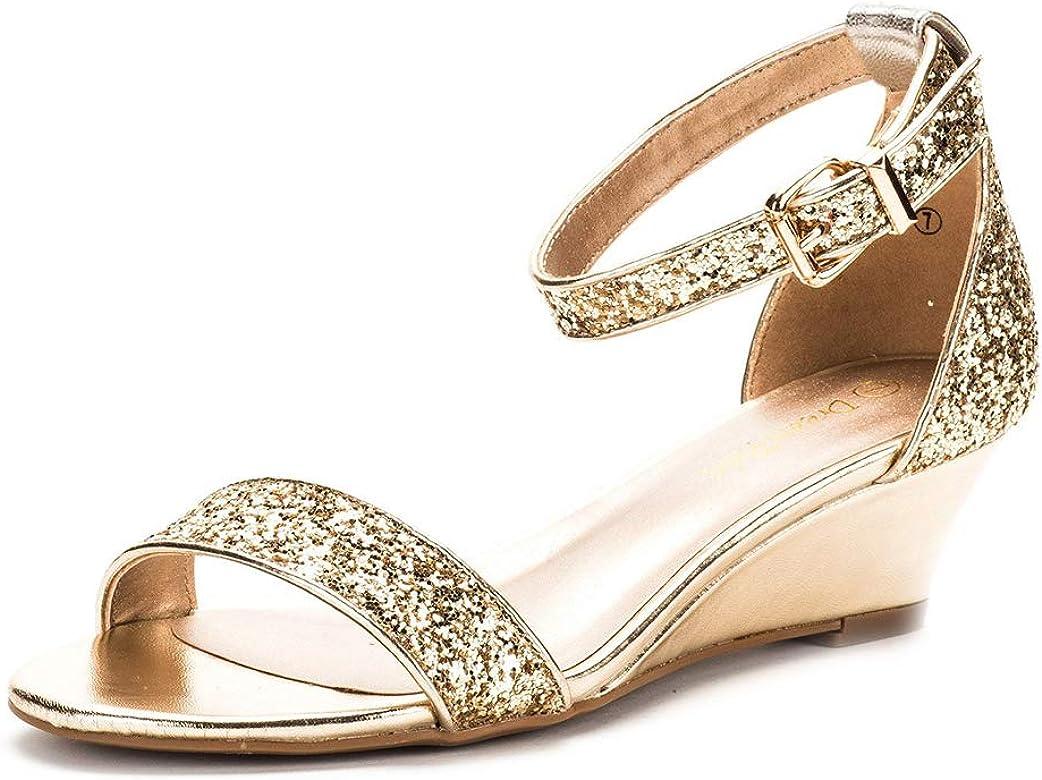 0e4c664b3cb DREAM PAIRS Women's Ingrid Gold Glitter Ankle Strap Low Wedge Sandals - 5  ...