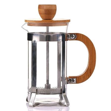 QYCL Cafetera, 350 ml Método de Tapa de Madera de bambú Olla de ...