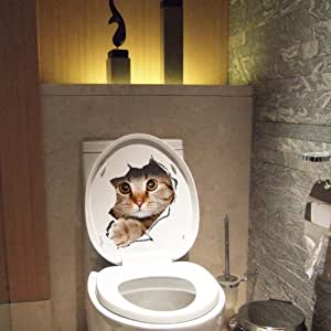 Gagafeel 3D Cute Cats Wall Sticker Toilet Stickers Hole View Vivid Bathroom Room Decorate