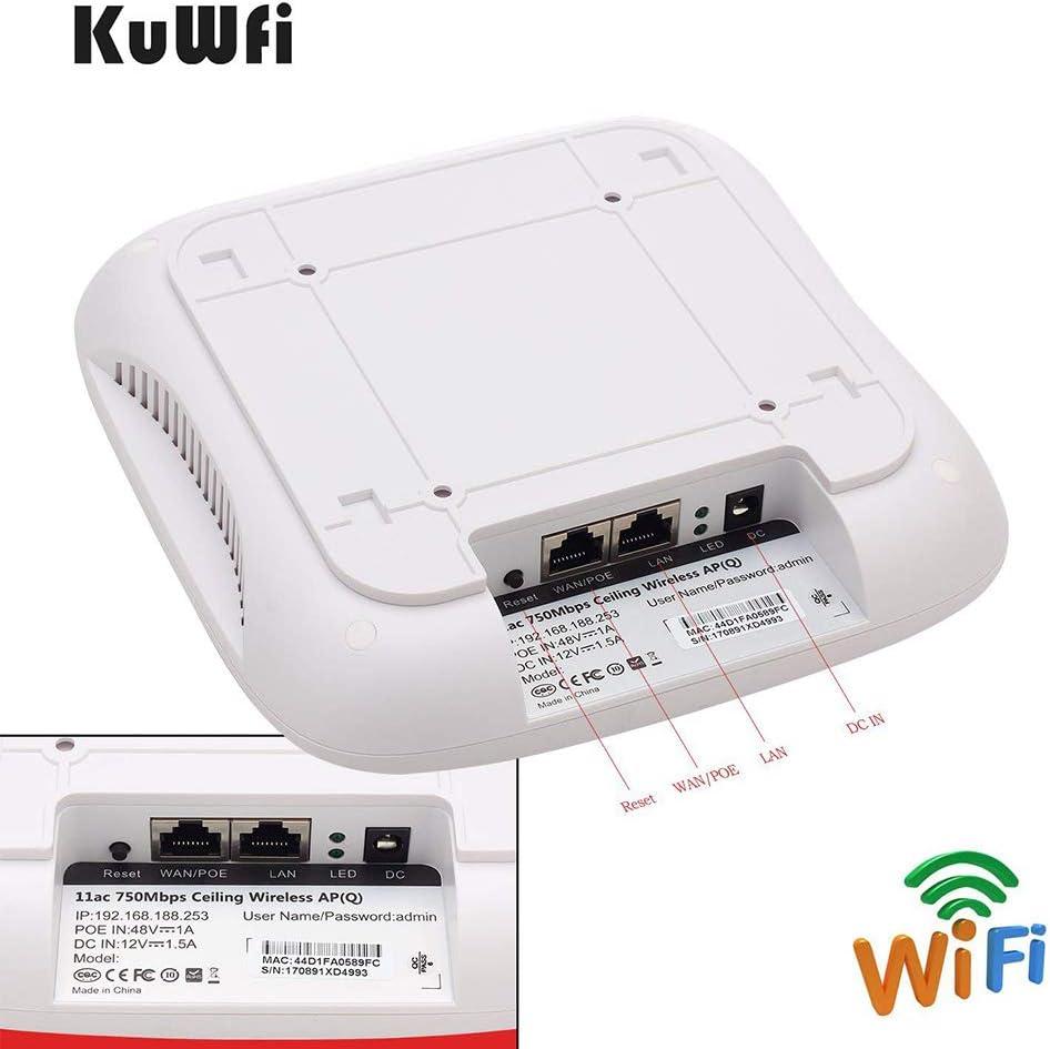 750Mbps Techo AP WIFI Router De Doble Banda Punto de Acceso Inalámbrico POE Router Montaje en Techo PoE Access Point Repetidor 48V POE de Larga ...