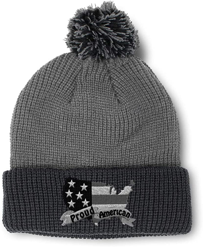 Winter Pom Pom Beanie Men /& Women Proud American B Embroidery Skull Cap Hat