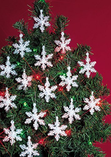 Beaded Snowflake Ornaments (Beadery Holiday Beaded Ornament Kit, 2-Inch, Mini Snowflakes, Makes 24 Ornaments)