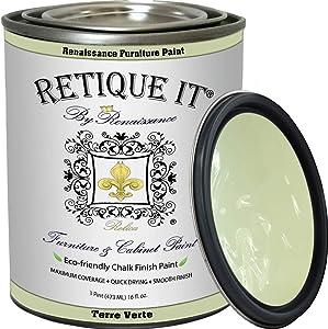 Retique It Chalk Furniture Paint by Renaissance DIY, 32 oz (Quart), 36 Terre Verte