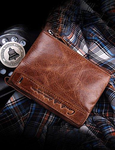 Lareinea Men Genuine Leather Cowhide Zip Wallet Vintage Bifold with Double Zipper Pockets (Brown) by Lareinae (Image #7)