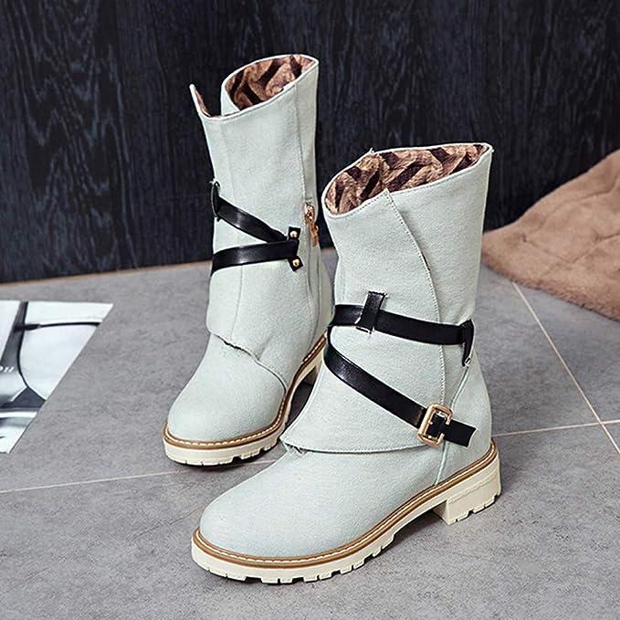 JiaMeng Mujer Invierno Moda Calentar Botas De Nieve Slouchy Botas De Piel Cuñas Botines Lona de Tubo Medio Botas Navidad Zapatos Hebilla Correa Bota: ...
