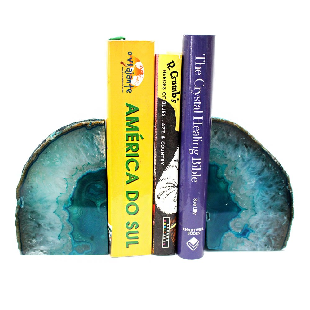 Teal Agate Bookend Pair - 3 to 6 lb - Geode Bookend with Rock Paradise Exclusive COA by Rock Paradise Home Decor