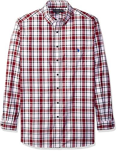 U.S. Polo Assn. Men's Tall Long Sleeve Plaid Poplin Sport Shirt, Seagram Burgundy, 2X Big